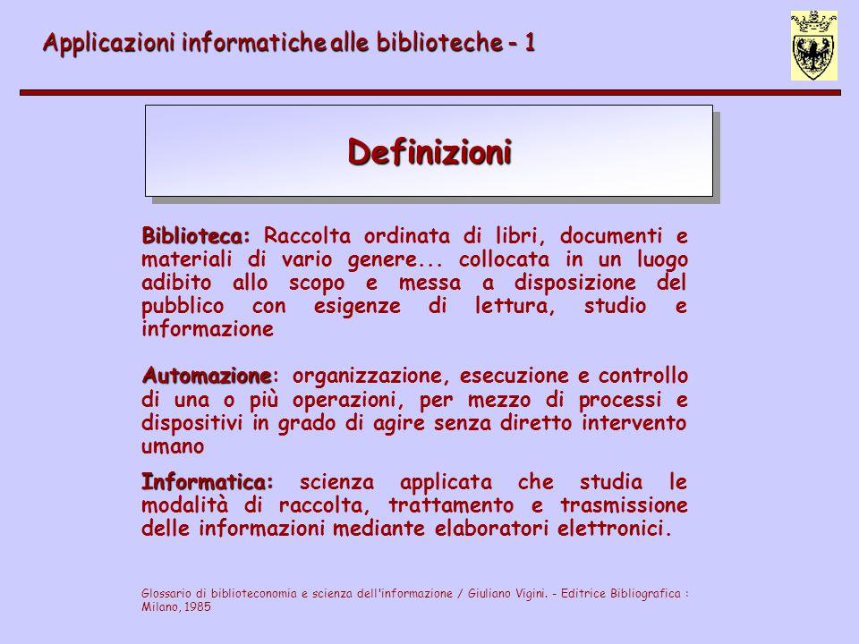 Definizioni Applicazioni informatiche alle biblioteche - 1 Biblioteca: Biblioteca: Raccolta ordinata di libri, documenti e materiali di vario genere..