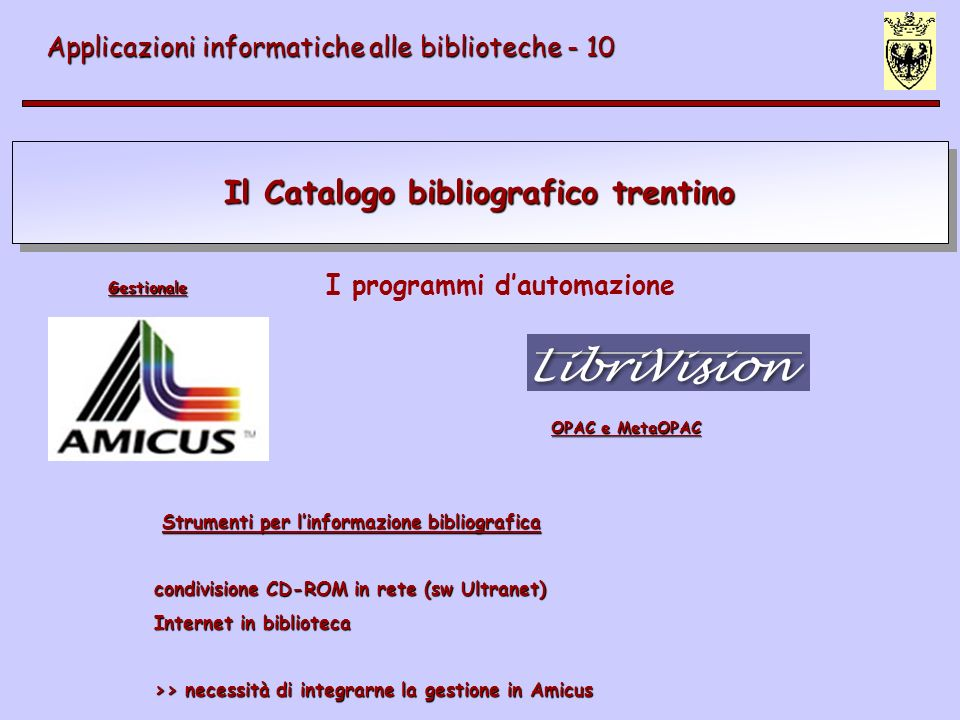 Il Catalogo bibliografico trentino Applicazioni informatiche alle biblioteche - 10 I programmi dautomazione Strumenti per linformazione bibliografica