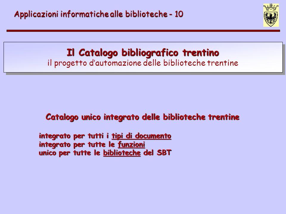 Il Catalogo bibliografico trentino il progetto dautomazione delle biblioteche trentine Applicazioni informatiche alle biblioteche - 10 Catalogo unico