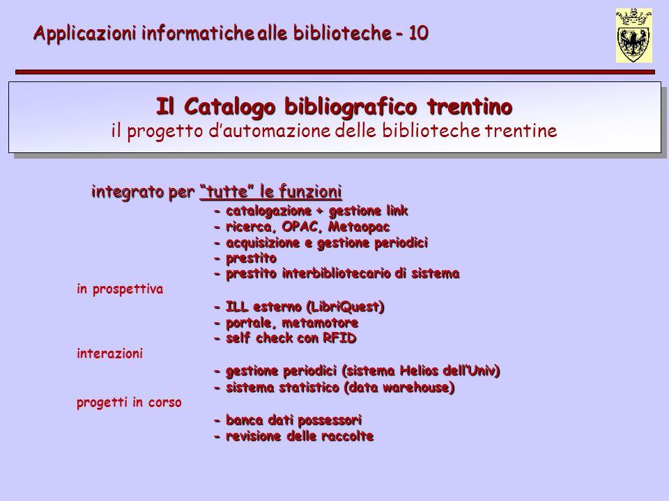 Il Catalogo bibliografico trentino il progetto dautomazione delle biblioteche trentine Applicazioni informatiche alle biblioteche - 10 integrato per t