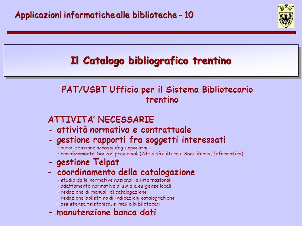 Il Catalogo bibliografico trentino Applicazioni informatiche alle biblioteche - 10 PAT/USBT Ufficio per il Sistema Bibliotecario trentino ATTIVITA NEC