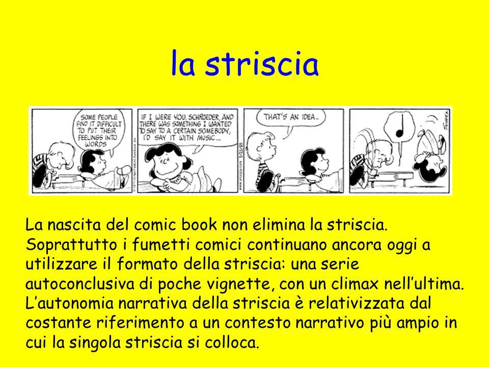 la striscia La nascita del comic book non elimina la striscia. Soprattutto i fumetti comici continuano ancora oggi a utilizzare il formato della stris