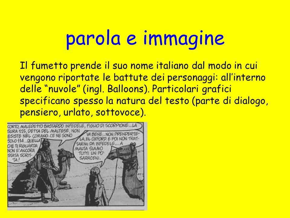parola e immagine Il fumetto prende il suo nome italiano dal modo in cui vengono riportate le battute dei personaggi: allinterno delle nuvole (ingl. B