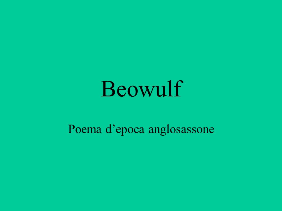 Beowulf Poema depoca anglosassone