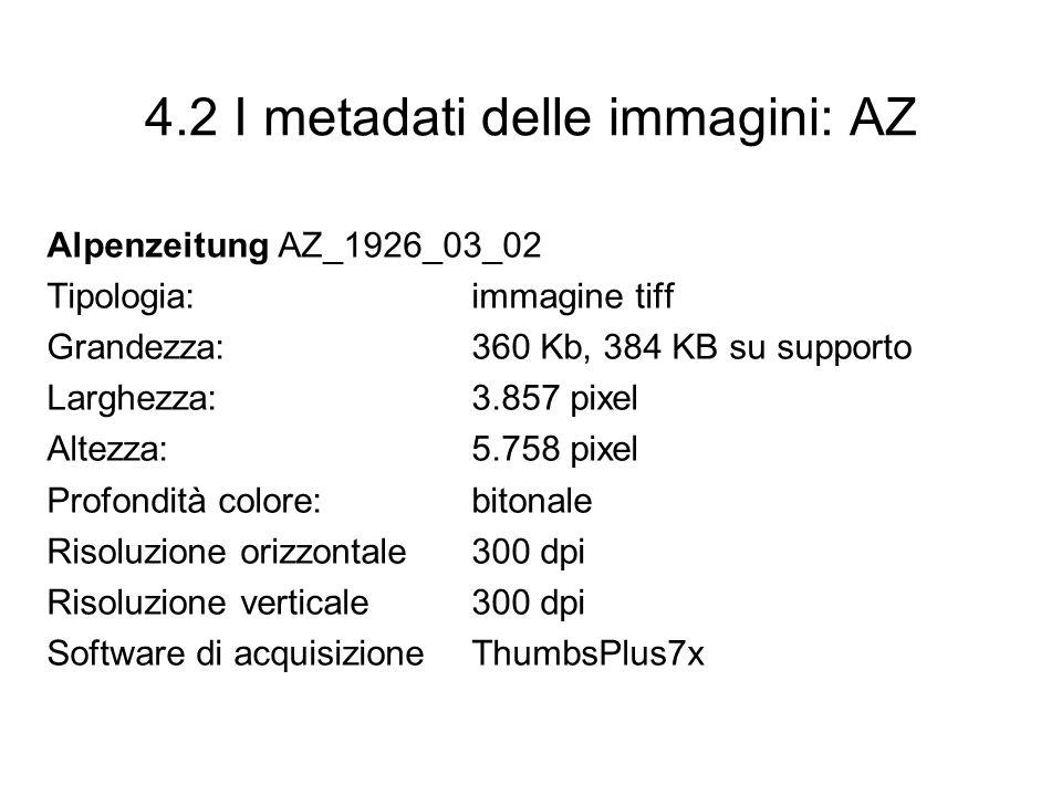 4.2 I metadati delle immagini: AZ Alpenzeitung AZ_1926_03_02 Tipologia: immagine tiff Grandezza: 360 Kb, 384 KB su supporto Larghezza: 3.857 pixel Alt