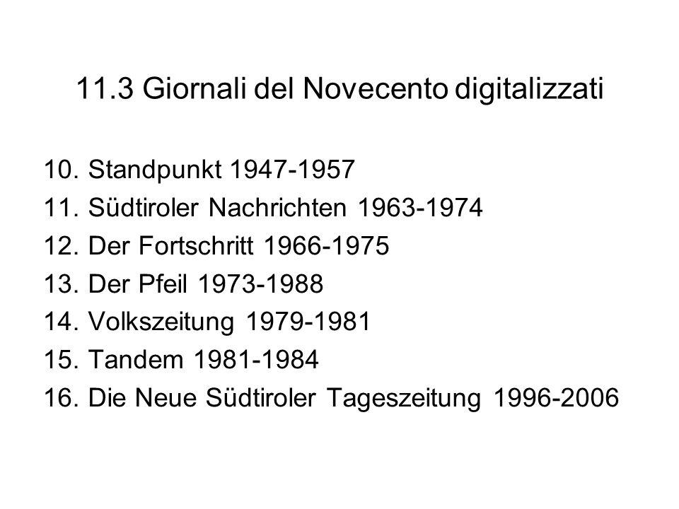 11.3 Giornali del Novecento digitalizzati 10.Standpunkt 1947-1957 11.Südtiroler Nachrichten 1963-1974 12.Der Fortschritt 1966-1975 13.Der Pfeil 1973-1
