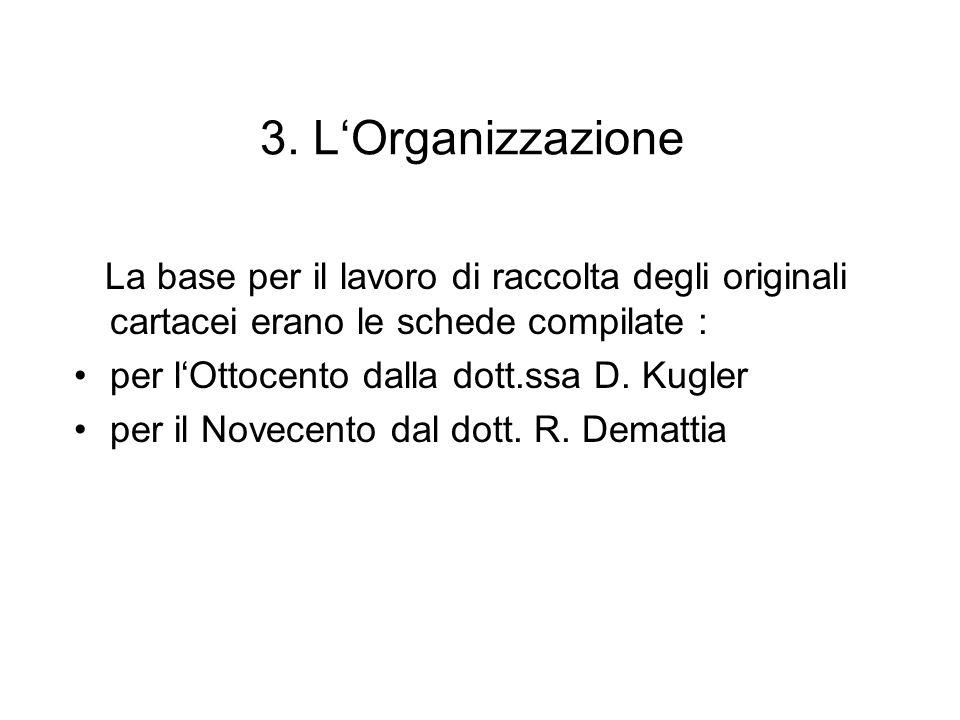 3. LOrganizzazione La base per il lavoro di raccolta degli originali cartacei erano le schede compilate : per lOttocento dalla dott.ssa D. Kugler per