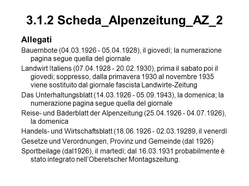 3.1.2 Scheda_Alpenzeitung_AZ_2 Allegati Bauernbote (04.03.1926 - 05.04.1928), il giovedì; la numerazione pagina segue quella del giornale Landwirt Ita