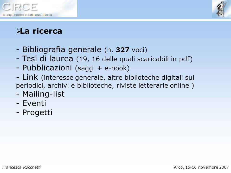 Francesca RocchettiArco, 15-16 novembre 2007 La ricerca - Bibliografia generale (n.