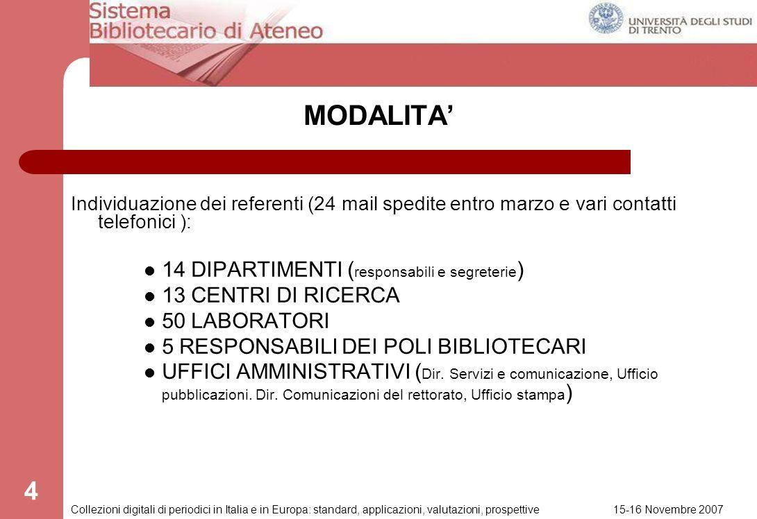 15-16 Novembre 2007 Collezioni digitali di periodici in Italia e in Europa: standard, applicazioni, valutazioni, prospettive 3 Referente per lUniversi