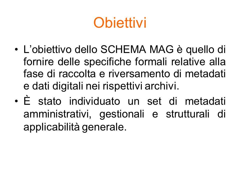 Obiettivi Lobiettivo dello SCHEMA MAG è quello di fornire delle specifiche formali relative alla fase di raccolta e riversamento di metadati e dati di
