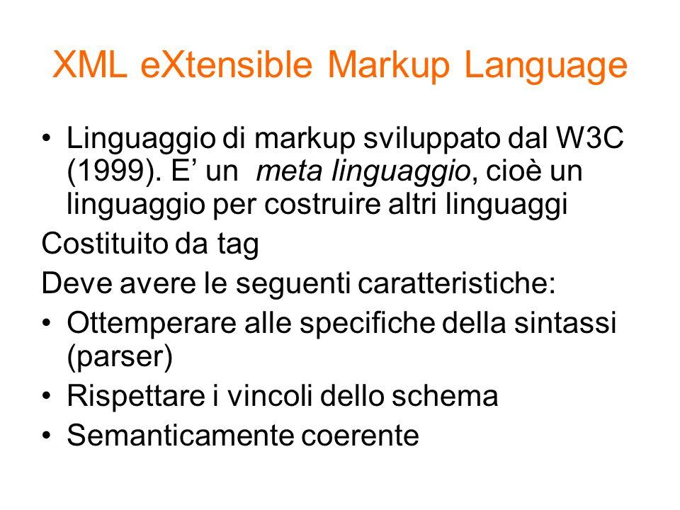 XML eXtensible Markup Language Linguaggio di markup sviluppato dal W3C (1999). E un meta linguaggio, cioè un linguaggio per costruire altri linguaggi