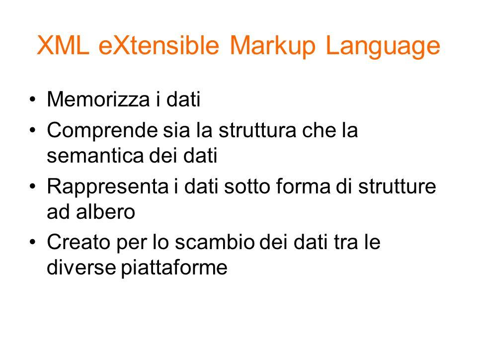 XML eXtensible Markup Language Memorizza i dati Comprende sia la struttura che la semantica dei dati Rappresenta i dati sotto forma di strutture ad al