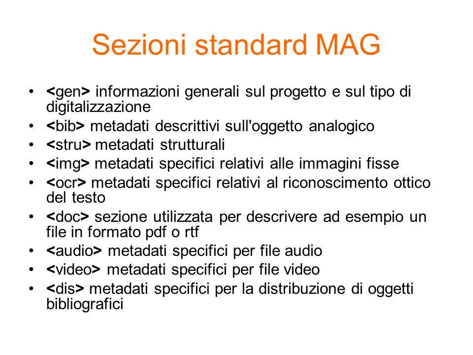 Sezioni standard MAG informazioni generali sul progetto e sul tipo di digitalizzazione metadati descrittivi sull'oggetto analogico metadati struttural