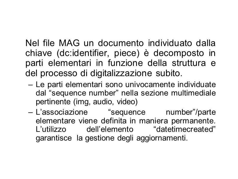 Nel file MAG un documento individuato dalla chiave (dc:identifier, piece) è decomposto in parti elementari in funzione della struttura e del processo