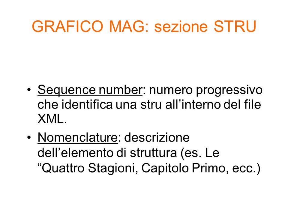 Sequence number: numero progressivo che identifica una stru allinterno del file XML. Nomenclature: descrizione dellelemento di struttura (es. Le Quatt