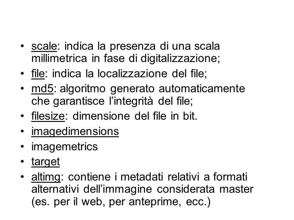 scale: indica la presenza di una scala millimetrica in fase di digitalizzazione; file: indica la localizzazione del file; md5: algoritmo generato auto