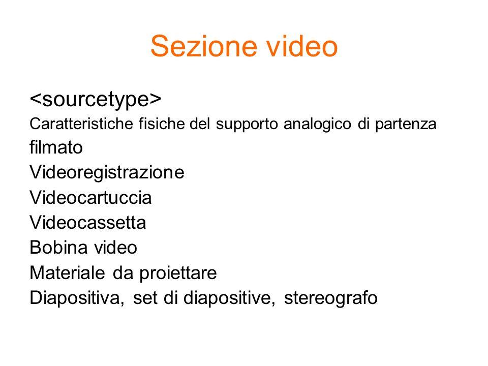 Sezione video Caratteristiche fisiche del supporto analogico di partenza filmato Videoregistrazione Videocartuccia Videocassetta Bobina video Material