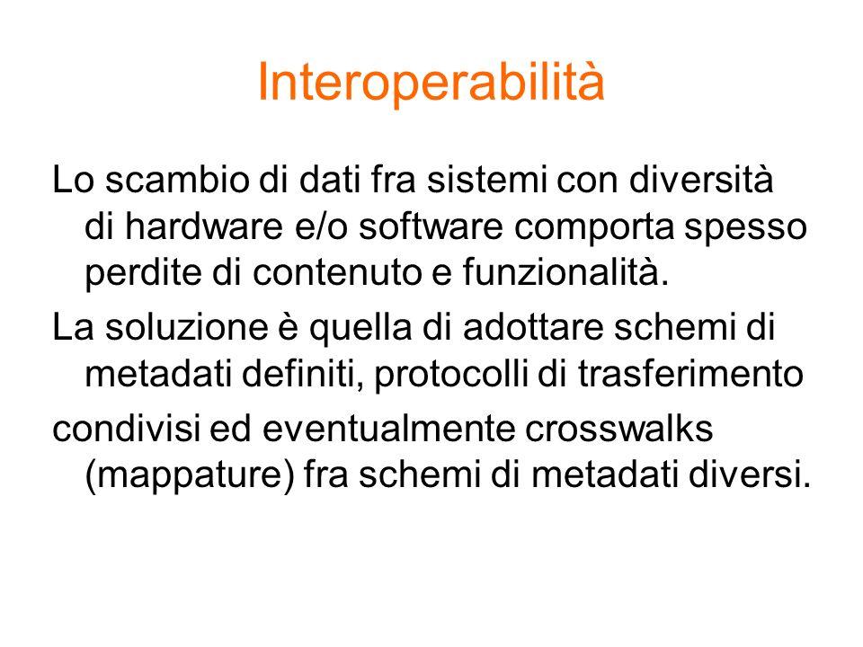 Interoperabilità Lo scambio di dati fra sistemi con diversità di hardware e/o software comporta spesso perdite di contenuto e funzionalità. La soluzio