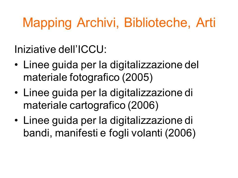 Mapping Archivi, Biblioteche, Arti Iniziative dellICCU: Linee guida per la digitalizzazione del materiale fotografico (2005) Linee guida per la digita