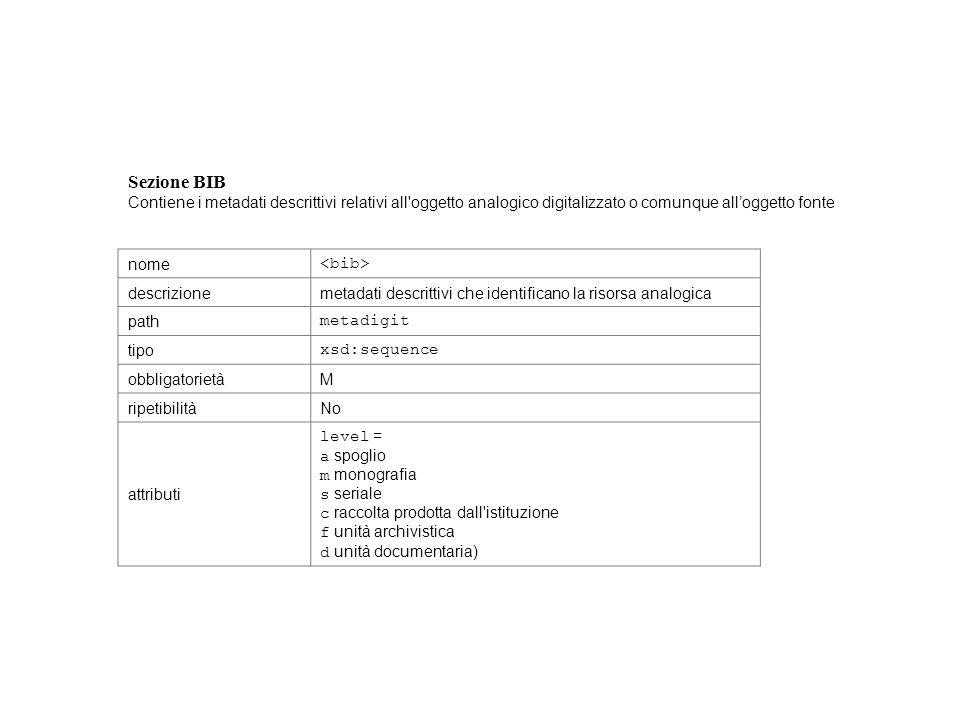 Sezione BIB Contiene i metadati descrittivi relativi all'oggetto analogico digitalizzato o comunque alloggetto fonte nome descrizionemetadati descritt