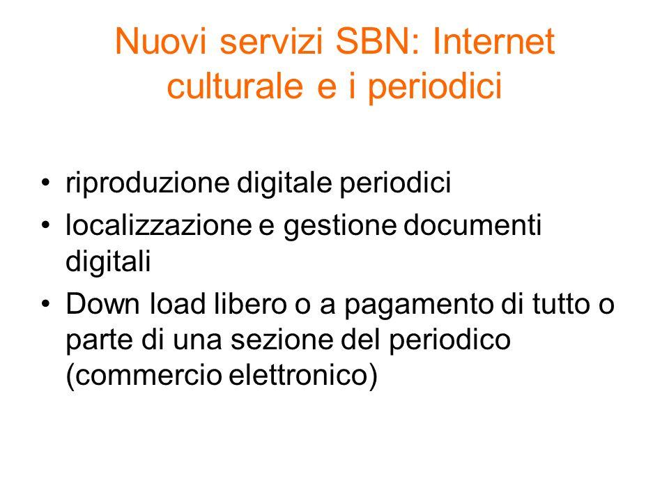 Nuovi servizi SBN: Internet culturale e i periodici riproduzione digitale periodici localizzazione e gestione documenti digitali Down load libero o a