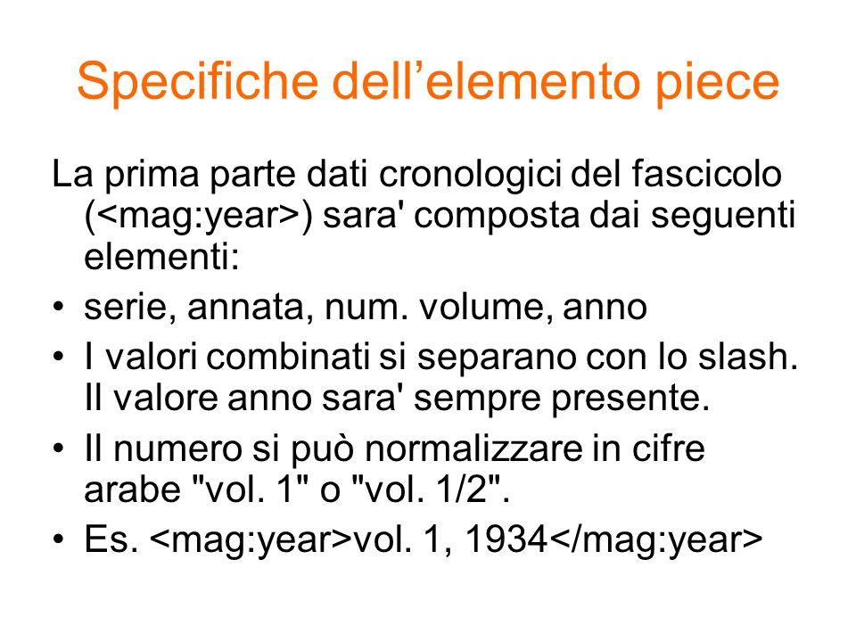 Specifiche dellelemento piece La prima parte dati cronologici del fascicolo ( ) sara' composta dai seguenti elementi: serie, annata, num. volume, anno