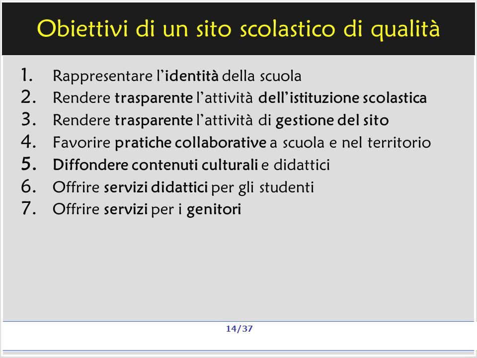 Milano, 20 e 23 nov 2006; 11 e 13 dic 2006 La qualità in un sito scolastico Alberto Ardizzone 14/37 Obiettivi di un sito scolastico di qualità 1.