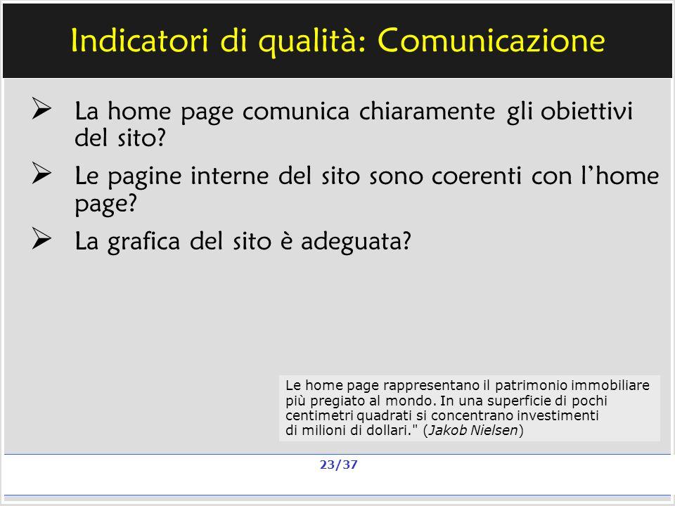 Milano, 20 e 23 nov 2006; 11 e 13 dic 2006 La qualità in un sito scolastico Alberto Ardizzone 23/37 Indicatori di qualità: Comunicazione La home page comunica chiaramente gli obiettivi del sito.