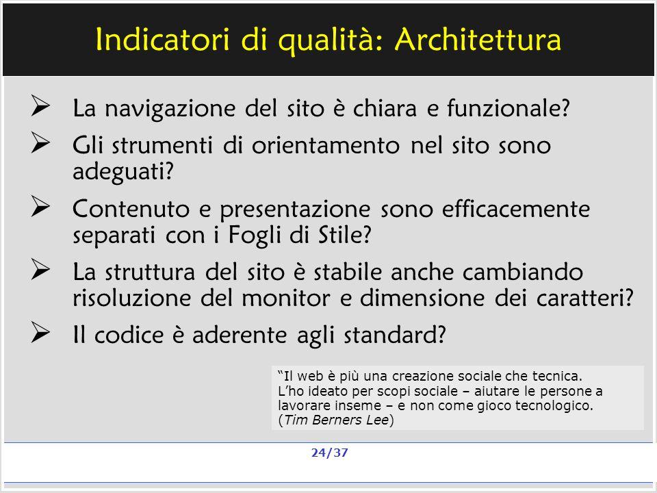 Milano, 20 e 23 nov 2006; 11 e 13 dic 2006 La qualità in un sito scolastico Alberto Ardizzone 24/37 Indicatori di qualità: Architettura La navigazione del sito è chiara e funzionale.