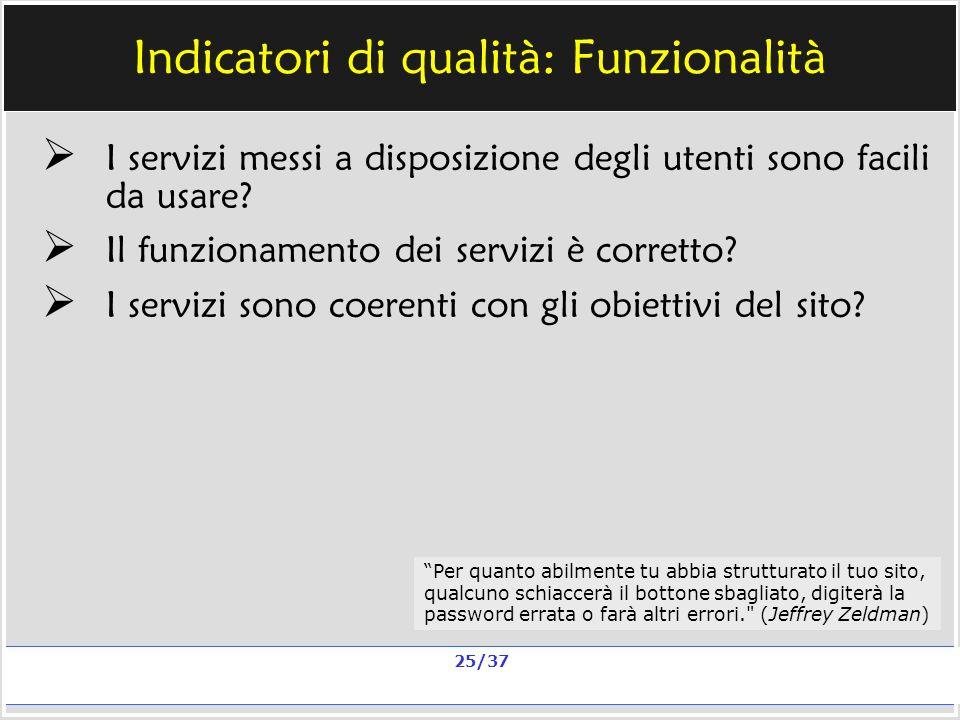Milano, 20 e 23 nov 2006; 11 e 13 dic 2006 La qualità in un sito scolastico Alberto Ardizzone 25/37 Indicatori di qualità: Funzionalità I servizi messi a disposizione degli utenti sono facili da usare.