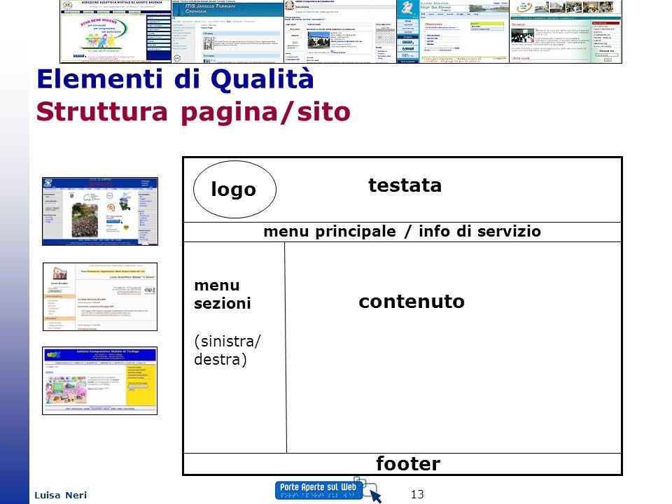 Luisa Neri 13 Struttura pagina/sito logo testata menu principale / info di servizio menu sezioni (sinistra/ destra) contenuto footer Elementi di Quali