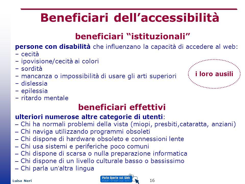 Luisa Neri 16 beneficiari istituzionali persone con disabilità che influenzano la capacità di accedere al web: – cecità – ipovisione/cecità ai colori
