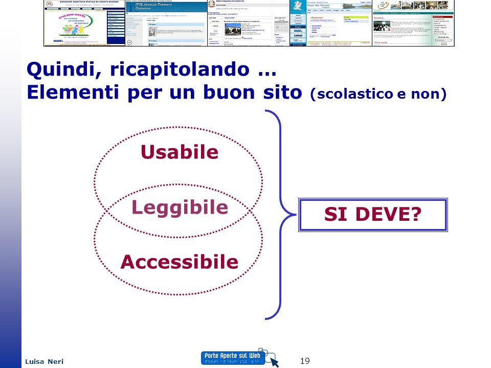 Luisa Neri 19 Usabile Leggibile Accessibile Quindi, ricapitolando … Elementi per un buon sito (scolastico e non) SI DEVE