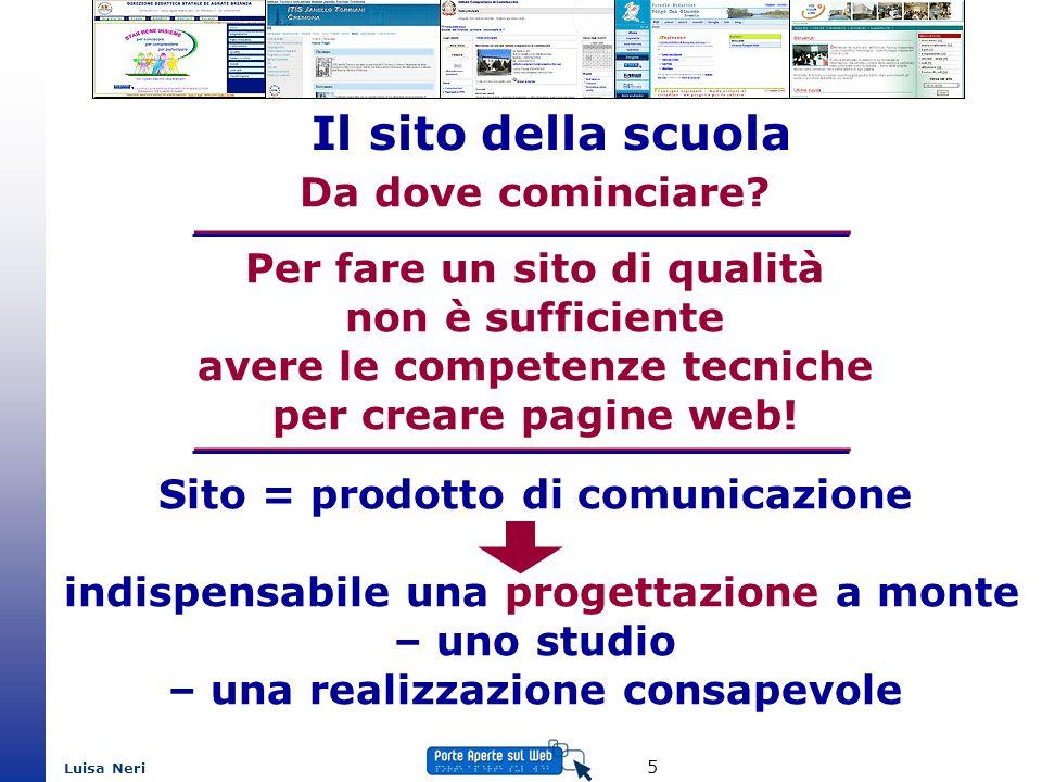 Luisa Neri 5 Il sito della scuola Da dove cominciare? Per fare un sito di qualità non è sufficiente avere le competenze tecniche per creare pagine web