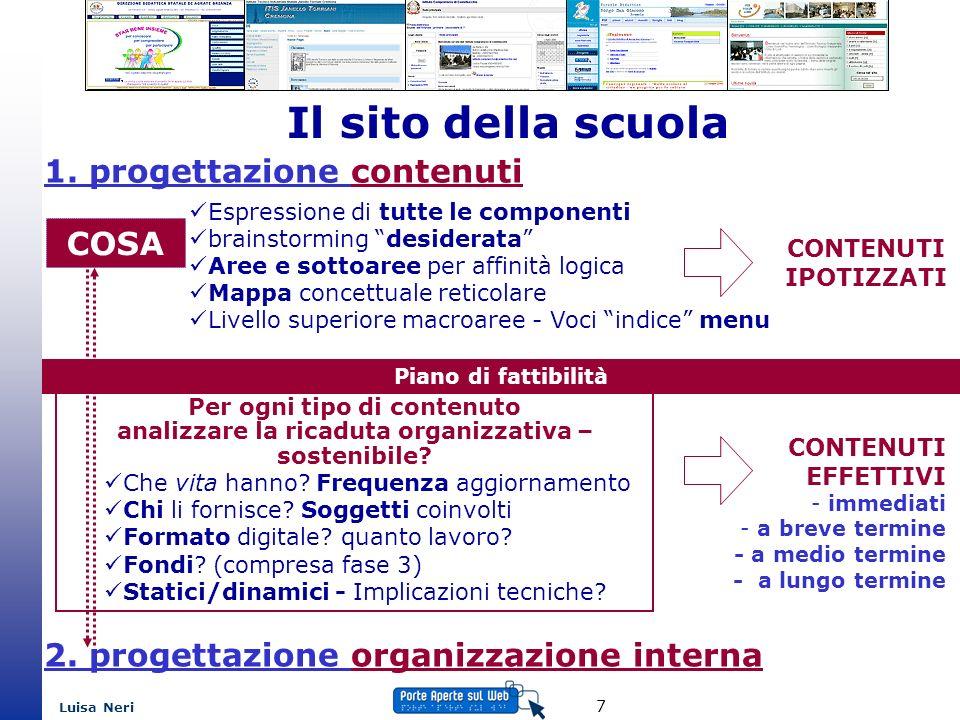 Luisa Neri 8 Il sito della scuola CHI COME Soggetti coinvolti referenti per le varie aree responsabili del sito Comunicazione interna: tra chi – come - quando (protocollo di lavoro) 2.