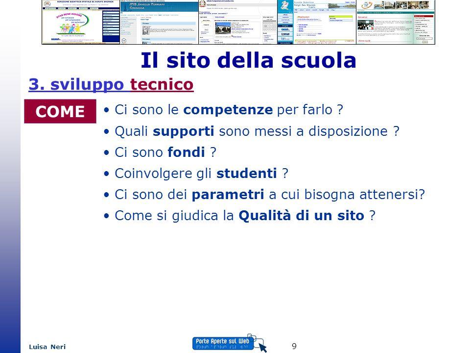Luisa Neri 9 Il sito della scuola COME Ci sono le competenze per farlo ? Quali supporti sono messi a disposizione ? Ci sono fondi ? Coinvolgere gli st