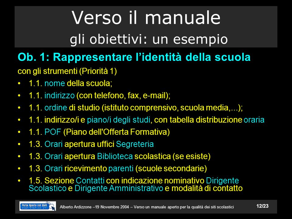 Alberto Ardizzone –19 Novembre 2004 – Verso un manuale aperto per la qualità dei siti scolastici 12/23 Verso il manuale gli obiettivi: un esempio Ob.