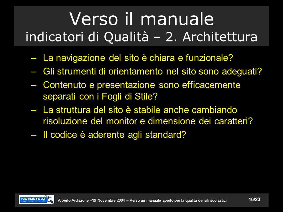 Alberto Ardizzone –19 Novembre 2004 – Verso un manuale aperto per la qualità dei siti scolastici 16/23 Verso il manuale indicatori di Qualità – 2.