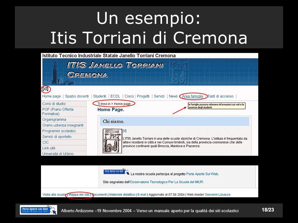 Alberto Ardizzone –19 Novembre 2004 – Verso un manuale aperto per la qualità dei siti scolastici 18/23 Un esempio: Itis Torriani di Cremona