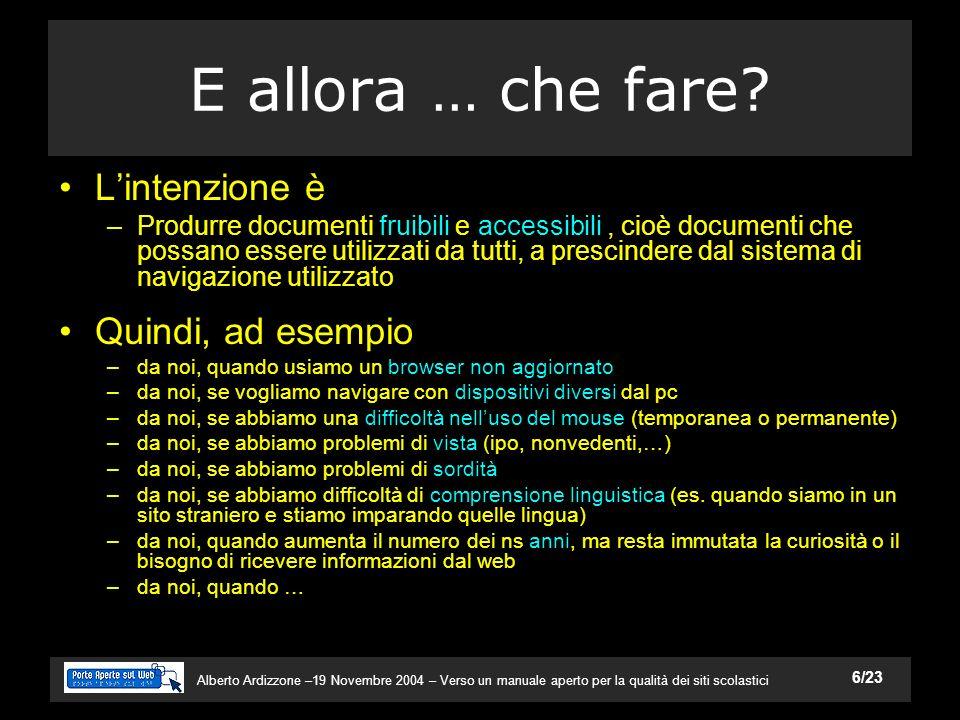 Alberto Ardizzone –19 Novembre 2004 – Verso un manuale aperto per la qualità dei siti scolastici 6/23 E allora … che fare.