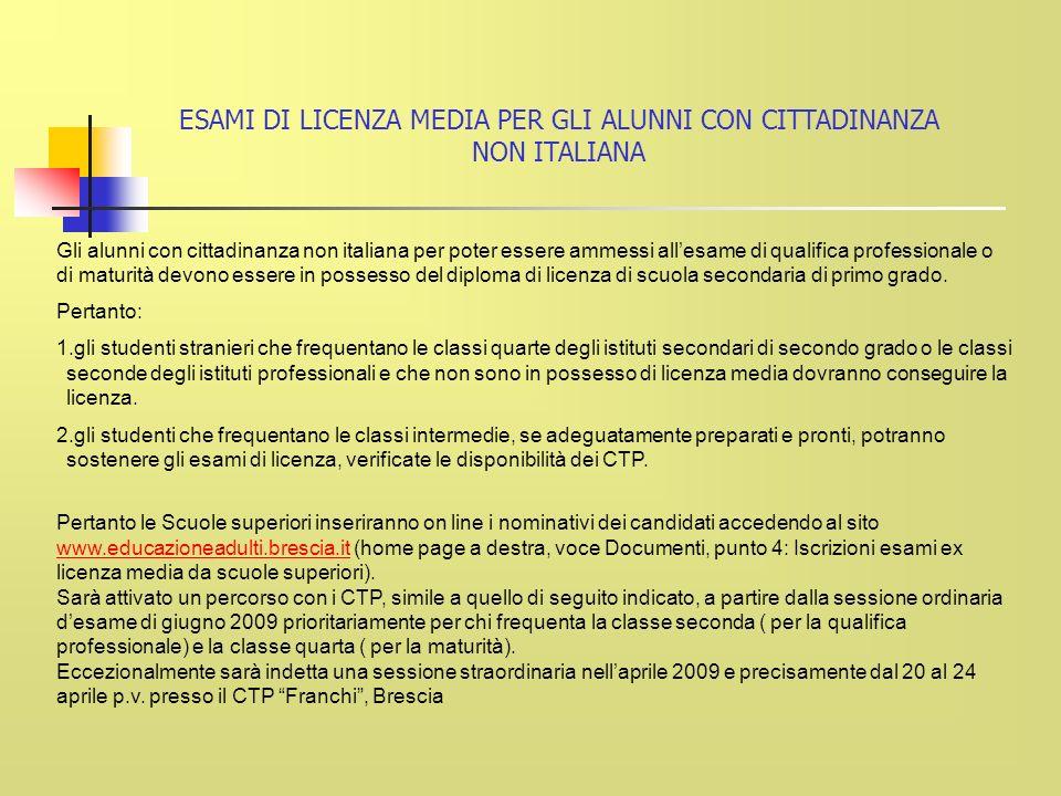 Gli alunni con cittadinanza non italiana per poter essere ammessi allesame di qualifica professionale o di maturità devono essere in possesso del diploma di licenza di scuola secondaria di primo grado.