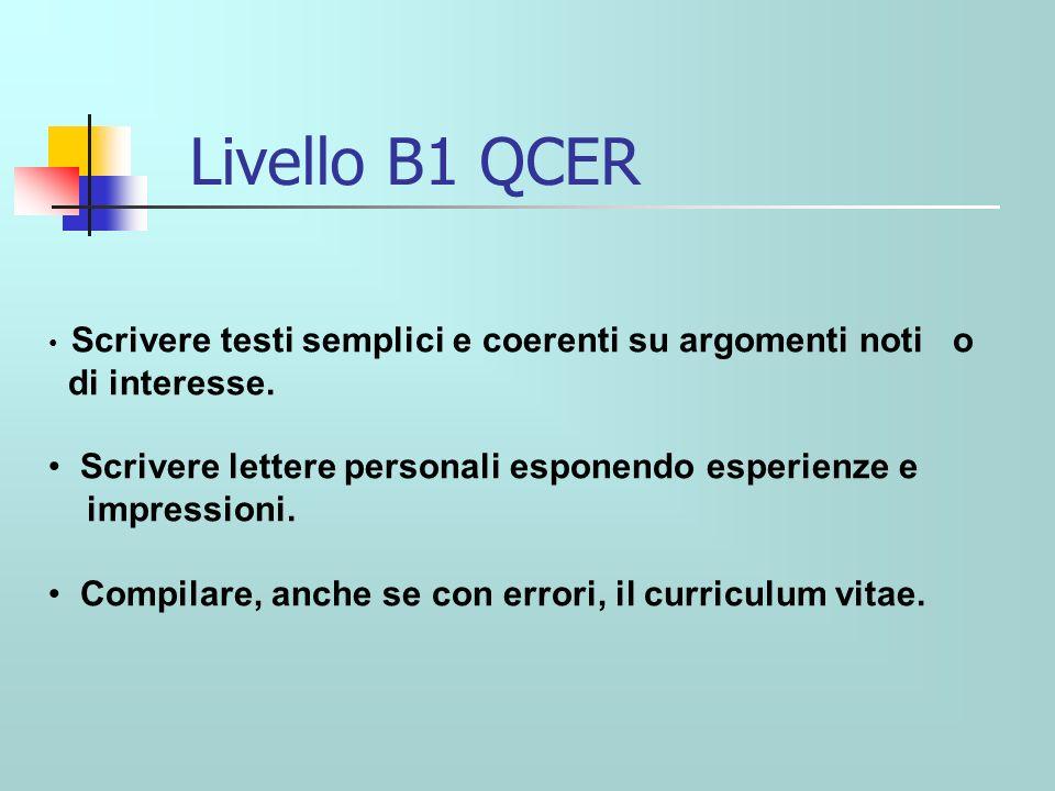 Livello B1 QCER Scrivere testi semplici e coerenti su argomenti noti o di interesse.