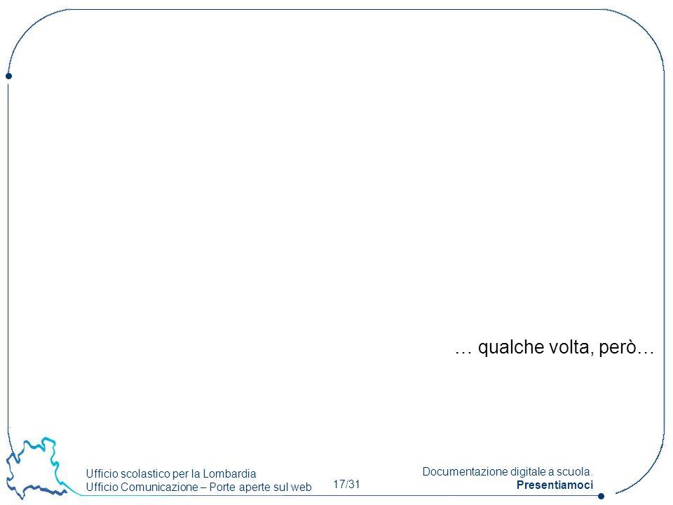 Ufficio scolastico per la Lombardia Ufficio Comunicazione – Porte aperte sul web 17/31 Documentazione digitale a scuola. Presentiamoci … qualche volta