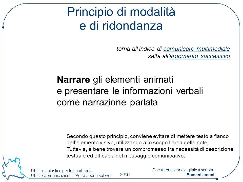Ufficio scolastico per la Lombardia Ufficio Comunicazione – Porte aperte sul web 26/31 Documentazione digitale a scuola. Presentiamoci Principio di mo