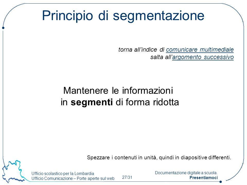 Ufficio scolastico per la Lombardia Ufficio Comunicazione – Porte aperte sul web 27/31 Documentazione digitale a scuola. Presentiamoci Principio di se
