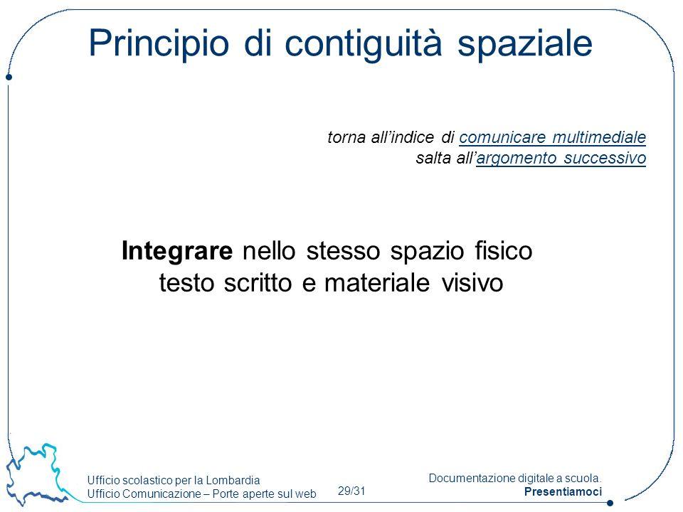 Ufficio scolastico per la Lombardia Ufficio Comunicazione – Porte aperte sul web 29/31 Documentazione digitale a scuola. Presentiamoci Principio di co
