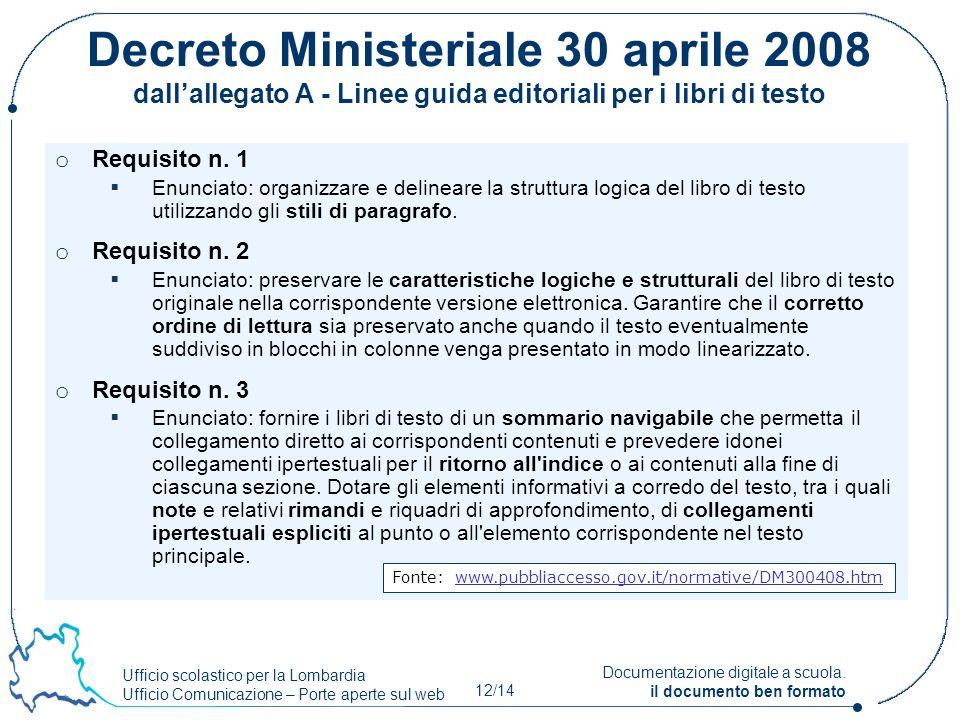 Ufficio scolastico per la Lombardia Ufficio Comunicazione – Porte aperte sul web 12/14 Documentazione digitale a scuola. il documento ben formato Decr