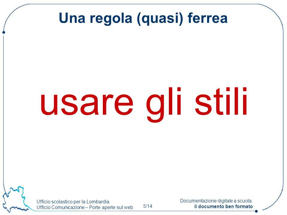 Ufficio scolastico per la Lombardia Ufficio Comunicazione – Porte aperte sul web 5/14 Documentazione digitale a scuola. il documento ben formato Una r