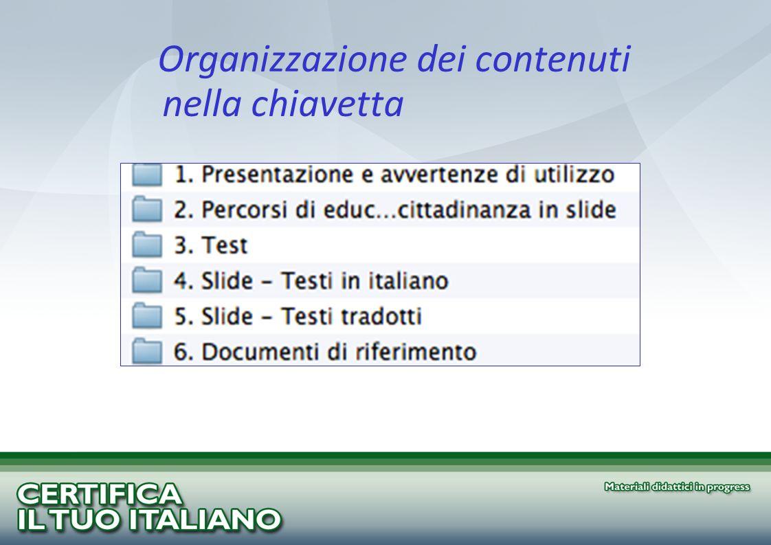 Organizzazione dei contenuti nella chiavetta